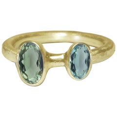 Deborah Murdoch 18 Karat Yellow Gold Blue/Green Tourmaline Cocktail Ring