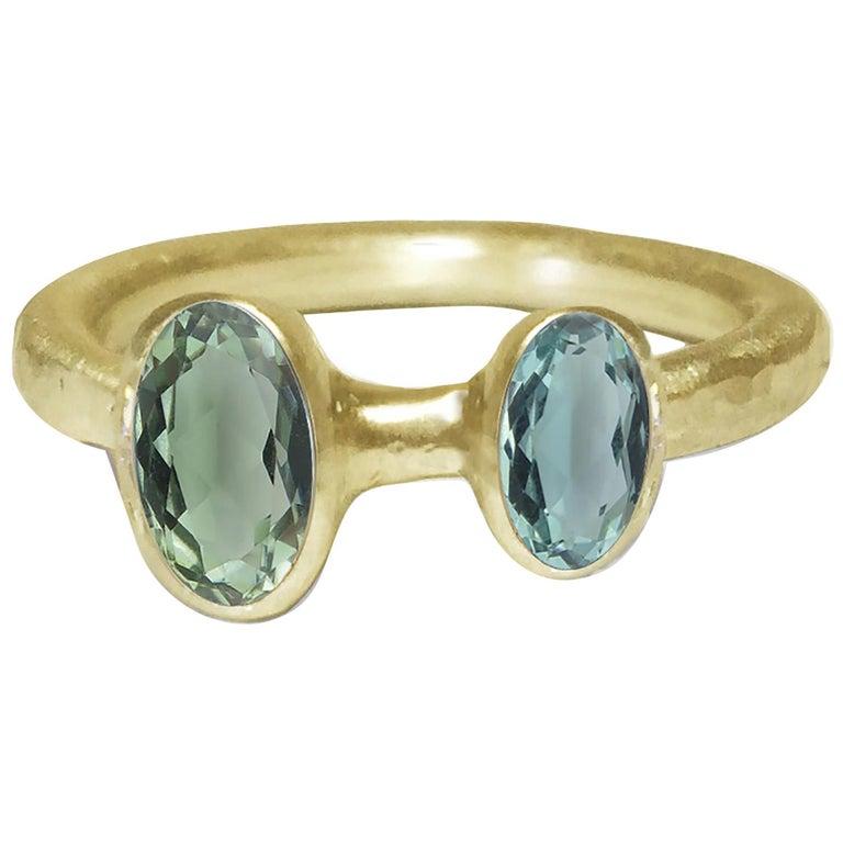 Deborah Murdoch 18 Karat Yellow Gold Blue/Green Tourmaline Cocktail Ring For Sale