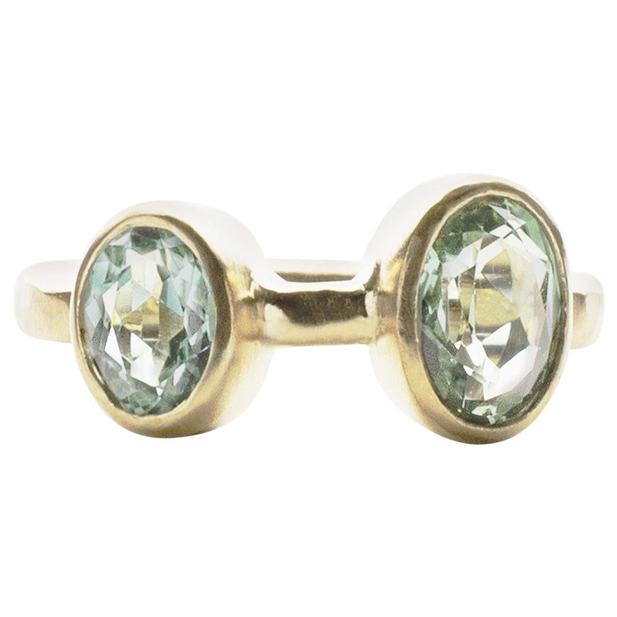 Deborah Murdoch 18 Karat Yellow Gold Blue Green Tourmaline Cocktail Ring