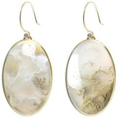 Deborah Murdoch 18 Karat Yellow Gold Diamond and Moss Agate Drop Earrings