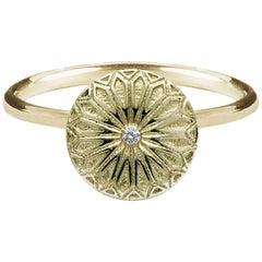 Deborah Murdoch 18 Karat Yellow Gold Fenestra Diamond Cocktail Ring