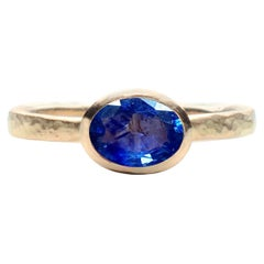 Deborah Murdoch 18 Karat Yellow Gold Oval 1.14ct Blue Sapphire Cocktail Ring
