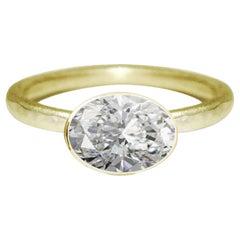 Deborah Murdoch 18 Karat Yellow Gold Oval 1.2 Carat Diamond Engagement Ring
