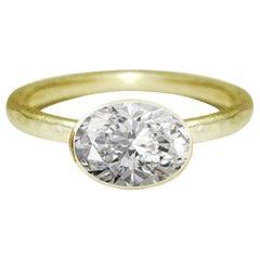 Deborah Murdoch 18 Karat Yellow Gold Oval 1.20 Carat Diamond Engagement Ring