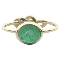 Deborah Murdoch 18 Karat Yellow Gold Oval 1.57ct Green Emerald Love Knot Ring