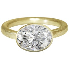 Deborah Murdoch 18 Karat Yellow Gold Oval 2.51 Carat Diamond Engagement Ring