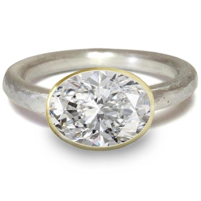 Contemporary Deborah Murdoch 18 Karat Yellow Gold Oval 2.51 Carat Diamond Engagement Ring For Sale