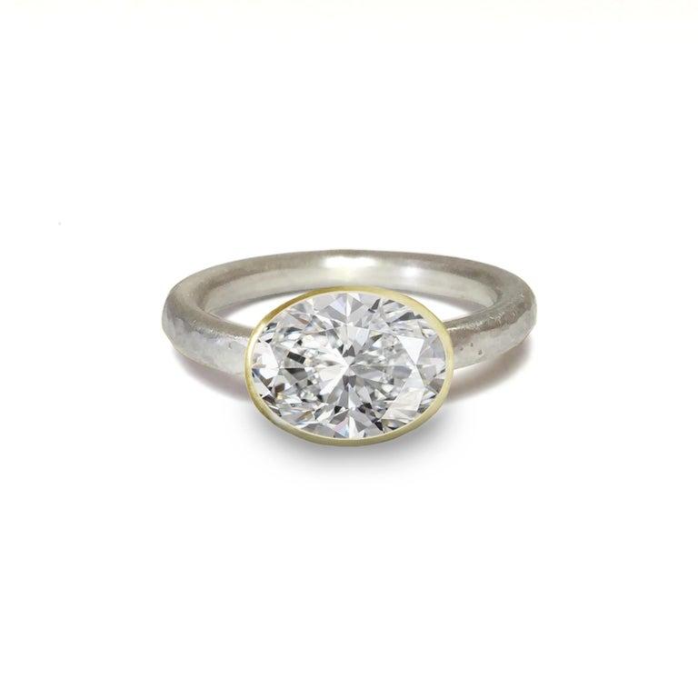 Oval Cut Deborah Murdoch 18 Karat Yellow Gold Oval 2.51 Carat Diamond Engagement Ring For Sale