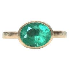 Deborah Murdoch 18 Karat Yellow Gold Oval 2.56ct Green Emerald Ring