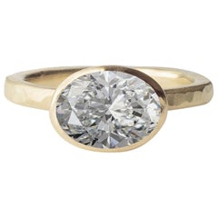 Deborah Murdoch 18 Karat Yellow Gold Oval 3.01 Carat Diamond Cocktail Ring