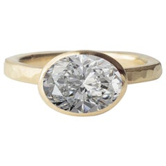 Deborah Murdoch 18 Karat Yellow Gold Oval 3.01 Carat Diamond Engagement Ring