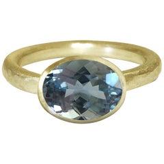 Deborah Murdoch 18 Karat Yellow Gold Oval Blue Aquamarine Cocktail Ring