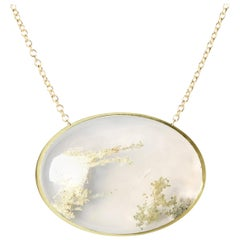 Deborah Murdoch 18 Karat Yellow Gold Oval Fleck Agate Pendant Necklace