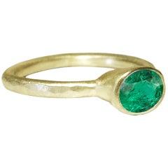 Deborah Murdoch 18 Karat Yellow Gold Oval Green Emerald Engagement Ring