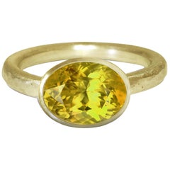 Deborah Murdoch 18 Karat Yellow Gold Oval Lemon Quartz Cocktail Ring
