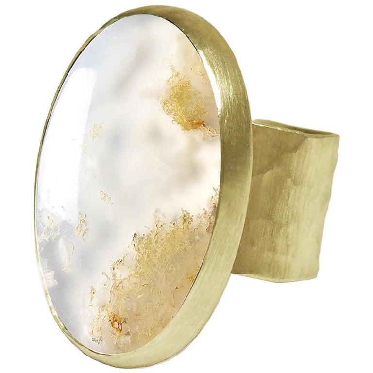Deborah Murdoch 18 Karat Yellow Gold Oval Moss Agate Cocktail Ring For Sale