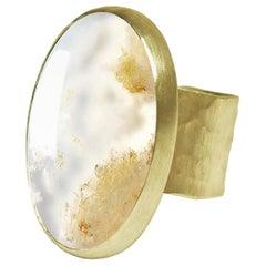 Deborah Murdoch 18 Karat Yellow Gold Oval Moss Agate Cocktail Ring