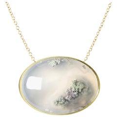 Deborah Murdoch 18 Karat Yellow Gold Oval Moss Agate Pendant Necklace
