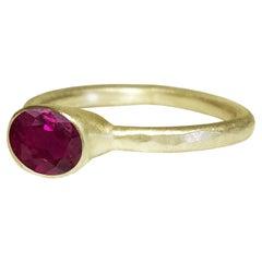 Deborah Murdoch 18 Karat Yellow Gold Oval Pigeon Blood Ruby Engagement Ring
