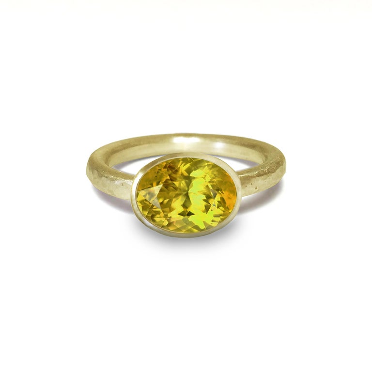 Contemporary Deborah Murdoch 18 Karat Yellow Gold Oval Pink Tourmaline Cocktail Ring For Sale