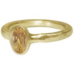 Deborah Murdoch 18 Karat Yellow Gold Oval Yellow Sapphire Engagement Ring