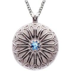 Deborah Murdoch Sterling Silver Blue Topaz Patterned Pendant Necklace