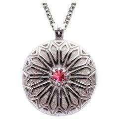 Deborah Murdoch Sterling Silver Pink Topaz Patterned Pendant Necklace