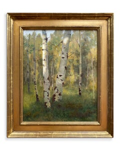 Light in the Clearing (landscape, Aspen trees, luminous)