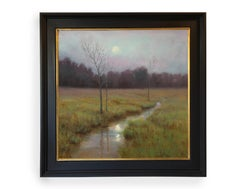 Spring Moonrise (Stream, lush, reflection, cool colors)