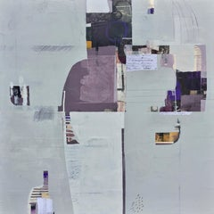 Ancient tales - abstract white grey purple painting and collage on panel