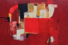 Music Lessons II - abstract red grey brown black painting and collage on panel