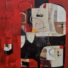 Queen of hearts - abstract red grey brown black painting and collage on panel