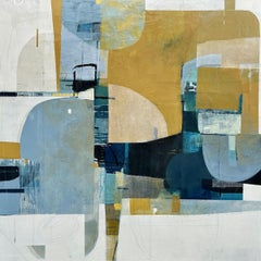 Resting Here- abstract textural white blue beige painting and collage on panel