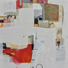 Then We Danced- abstract textural white red beige painting and collage on panel