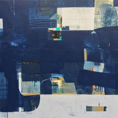 Underwater- abstract textural white blue painting and collage on panel