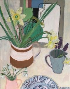 Deborah Windsor, Daffodils, Snowdrops and Grape Hyacith, Still Life Painting