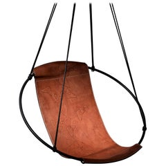 Debossed Geometric Sling Hanging Swing Chair Genuine Leather 21st Century Modern