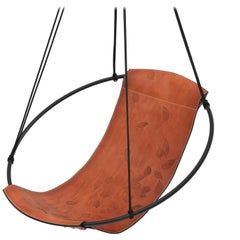 Debossed Leaf Sling Hanging Swing Chair Genuine Leather 21st Century Modern