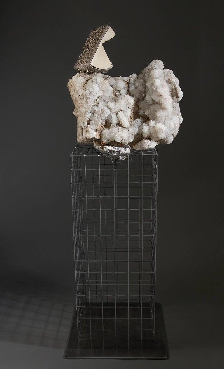 Debra Baxter, Hell Bent II, 2018, quartz, steel, wood, Alexander Wang bag