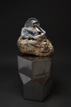 Debra Baxter, Speak Up, 2018, rawhide, celestine, aluminum, quartz, feldspar