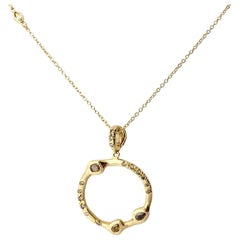 Debra Navarro Diamond and 18 Karat Gold Circle Pendant Necklace Eternity Round