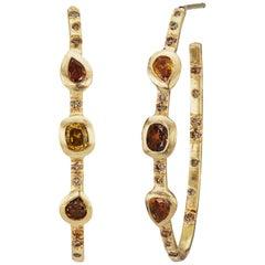 Debra Navarro Bezel Set Diamond 18 Karat Yellow Gold Hoop Earrings 1.67 Carats