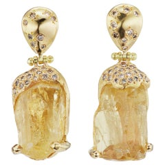 Debra Navarro Yellow Scapolite and Diamond 18K Gold Hinged Dangle Earrings