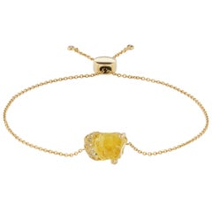 Debra Navarro Yellow Scapolite and Diamond 18K Gold Bolo Bracelet 3.49 Carats