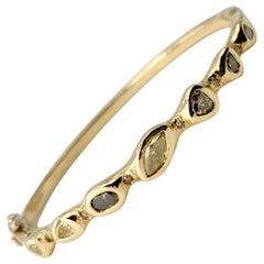 Debra Navarro Diamond and 18 Karat Yellow Gold Bangle Bracelet Hinged Bezel Set