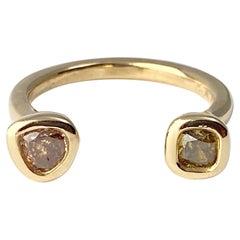 Debra Navarro Pear and Cushion Diamond 18 Karat Yellow Gold Cuff Band Ring