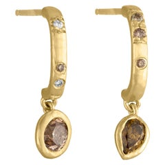 Debra Navarro Diamond and 18 Karat Gold Dangle Stud Hoop Earrings Pear Oval