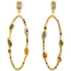 Debra Navarro Diamond and 18 Karat Yellow Gold Open Oval Large Dangle Earrings