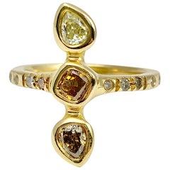 Debra Navarro Colored Diamond and 18 Karat Yellow Gold Three-Stone Band Ring