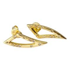 Debra Navarro Diamond 18 Karat Gold Tusk Stud Earrings 0.28 Carat